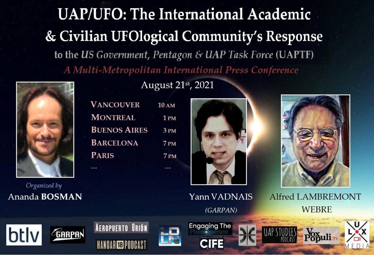 UFO/UAP Unidentified Aerial Phenomenon Press Conference Aug. 21, 2021 – Ananda Bosman